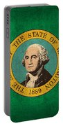 Washington State Flag Art On Worn Canvas Portable Battery Charger