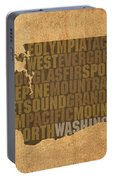 Washington Word Art State Map On Canvas Portable Battery Charger