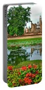 Wat Mahathat Reflection In 13th Century Sukhothai Historical Park-thailand Portable Battery Charger