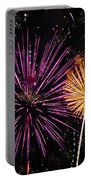 Watching Pink And Gold Explosion - Fireworks And Moon II Portable Battery Charger