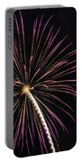 Watching Pink And Gold Explosion - Fireworks And Moon I  Portable Battery Charger