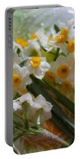 Water Drops On A Bouquet Portable Battery Charger