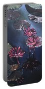 Water Lilies At Sunset Portable Battery Charger
