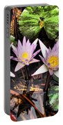 Water Lilies Water Drop And Reflection In Water Portable Battery Charger