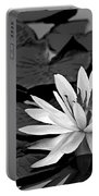 Water Lily Black And White Portable Battery Charger