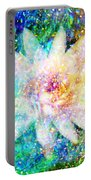 Water Lily With Iridescent Water Drops Portable Battery Charger