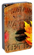 Water Meter Cover With Autumn Leaves Abstract Portable Battery Charger