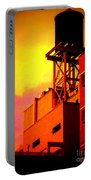 Water Tower With Orange Sunset Portable Battery Charger