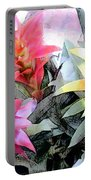Watercolor And Ink Sketch Of Colorful Bromeliads Portable Battery Charger