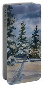 Original Watercolor - Colorado Winter Pines Portable Battery Charger