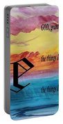 Watercolor E And Serenity Prayer Portable Battery Charger