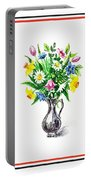 Watercolor Flowers Bouquet In Metal Pitcher Impressionism Portable Battery Charger