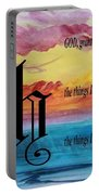 Watercolor H And Serenity Prayer Portable Battery Charger