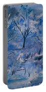 Watercolor - Icy Winter Landscape Portable Battery Charger