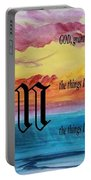 Watercolor M And Serenity Prayer Portable Battery Charger