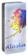 Watercolor Map Of Alaska      United States Portable Battery Charger