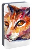 Watercolor Orange Tubby Cat Portable Battery Charger