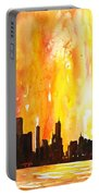 Watercolor Painting Of Skycrapers Of Downtown Chicago As Viewed  Portable Battery Charger