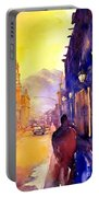 Watercolor Painting Of Street And Church Morelia Mexico Portable Battery Charger