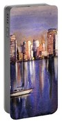 Watercolor Painting Of Vancouver Skyline Portable Battery Charger
