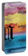 Watercolor U And Serenity Prayer Portable Battery Charger