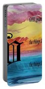 Watercolor V And Serenity Prayer Portable Battery Charger
