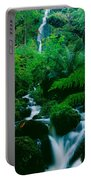 Waterfall In A Forest, Dartmoor, Devon Portable Battery Charger