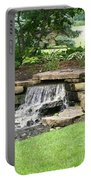 Waterfall With Coneflowers Portable Battery Charger
