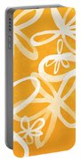 Waterflowers- Orange And White Portable Battery Charger by Linda Woods
