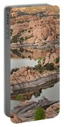 Watson Lake Sunset Portable Battery Charger by Angie Schutt