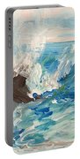 Wave At Sunset Beach Portable Battery Charger