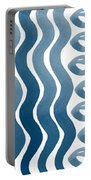 Waves And Pebbles- Abstract Watercolor In Indigo And White Portable Battery Charger by Linda Woods