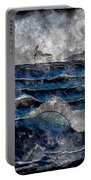 Waves - Ocean - Steel Engraving Portable Battery Charger