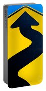 Wavy Arrow Concept Of Winding Road To Success Portable Battery Charger