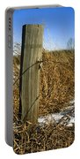 Weathered Old Fence Post Portable Battery Charger