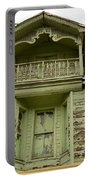 Weathered Old Green Wooden House Portable Battery Charger