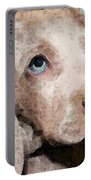 Weimaraner Dog Art - Forgive Me Portable Battery Charger by Sharon Cummings