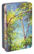 Welcome Home - Birch And Aspen Trees Portable Battery Charger