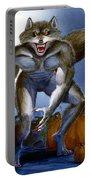 Werewolf With Pumpkins Portable Battery Charger