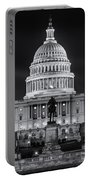 West Front Of The National Capitol Bw Portable Battery Charger