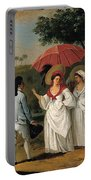 West Indian Landscape With Figures Promenading Before A Stream Portable Battery Charger