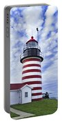 West Quoddy Head Lighthouse And Clouds Portable Battery Charger