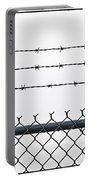 Wet Barbed Wire Fence In Heavy Fog E69 Portable Battery Charger