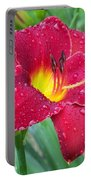 Wet Red Razzmatazz Daylily 1 Portable Battery Charger