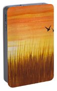 Wheatfield At Sunset Portable Battery Charger