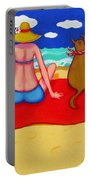 Whimsical Beach Seashore Woman And Dog Portable Battery Charger