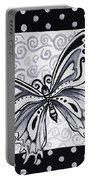 Whimsical Black And White Butterfly Original Painting Decorative Contemporary Art By Madart Studios Portable Battery Charger