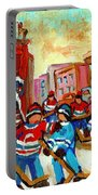 Whimsical Hockey Art Snow Day In Montreal Winter Urban Landscape City Scene Painting Carole Spandau Portable Battery Charger by Carole Spandau