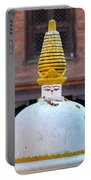 White And Golden Chorten Portable Battery Charger