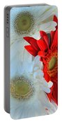 White And Red Flowers Portable Battery Charger